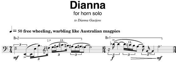 Excerpt of Dianna score