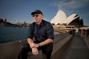 Nigel Westlake at Circular Quay, Sydney (view of Sydney Opera House in background)